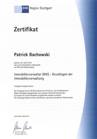 IHK-Zertifikat Patrick Bachowski